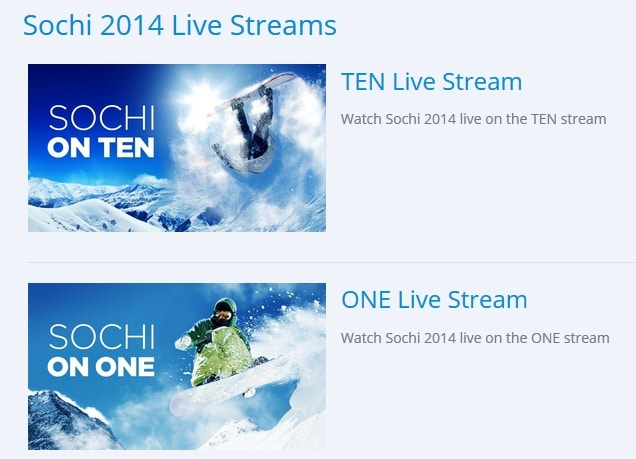 Sochi Live streams in Australia